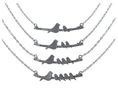 Mother nestling birds necklace