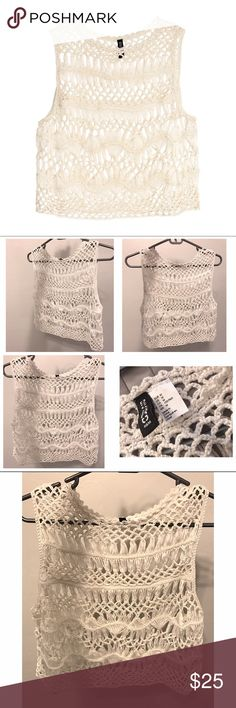 H&M Crochet Loose Weave Vest Top M Natural White Gorgeous natural white vest top by H&M in a loose knit crochet. Super cute, wear it with a short sleeve top or bikini. Versatile. Styling ideas in last pic. Creamy white color. Hits at top of waist. Fits S/M. New never worn, yanked the tag off. Sold out. H&M Tops