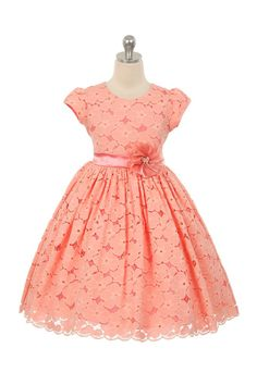 Buy Little Girls Short Sleeve Cotton Floral Lace Flower Girl Dress - Coral - online, more latest style of Girls' Special Occasion Dresses sale at affordable price. African Dresses For Kids, Latest African Fashion Dresses, Little Girl Dresses, Girls Dresses, Kids Fashion Dresses, Coral Flower Girl Dresses, Lace Flower Girls, Coral Dress, Lace Flowers