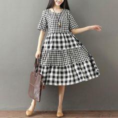 Olanes value Vintage Plaid Loose Split-joint Long Dress Vintage Summer Dresses, Summer Dresses For Women, Simple Dresses, Casual Dresses, Dress Vintage, Frock Fashion, Fashion Dresses, Linen Dresses, Cotton Dresses