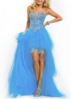 Stunning Stretch Satin  A-line Strapless Sweetheart High Low Prom Dress With Beadings