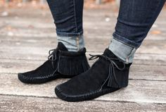 Handmade Leather Inca Boot Moccasin with fringe on Etsy, $115.00