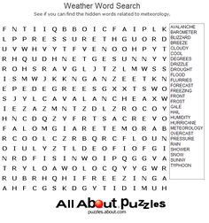 Printable Word Search Puzzles : Weather Word Search