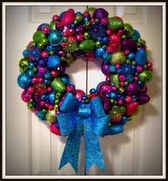 Glitter bulbs and bells wreath for Christmas this year