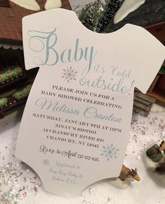Winter Themed Baby Shower Invitations Baby Its Cold Outside! Snowflakes #RSVPCustomCreations #BabyShower