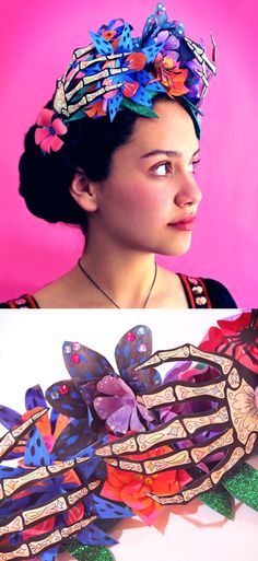 DIY paper flower crown for Day of the Dead