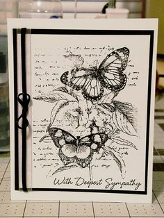 Sympathy card Recollections flowers and butterfly wood mounted stamp Hero Arts with deepest sympathy Staz On ink Jet Black Hero Arts Prayers and Thoughts