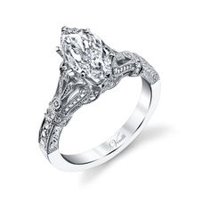 Venetti 14k White Gold Vintage-Style Marquise Engagement Ring