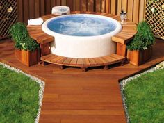 very beautiful round small hot tub outdoor deck decoration ideas back yard pinterest hot. Black Bedroom Furniture Sets. Home Design Ideas