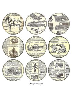 2,5 inch vintage printable tags large round images bike ship horse Digital Collage Sheet grunge background ephemera dictionary scan