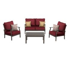allen roth 2Piece Gatewood Brown Aluminum Patio Loveseat and
