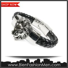 "Mens Bold Bracelets | Mens Bracelets | Mens Bracelet | Mens Jewelry | Mens Accessories | Bracelets on Men | Mens Jewelery | Shop Now ♦ Stainless Steel Big Lion Head Leather Bracelet 8"" $30.00"