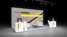 251 Turbinen Burstcontrol  | Schlichter Messestand für ein Unternehmen der Luftfahrttechnik.  Der kleine Reihenstand inszeniert das prägnante Firmenlogo und ein Lufttechnik Moti...
