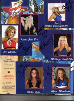 Some 2009 Arena Football Cheerleaders, and their autographs.