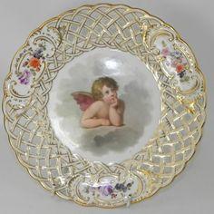 Dresden Porcelain Pierced Dessert Plate Handpainted with Cherubs C1890 | eBay