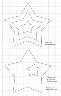 Kerststerren (december - ariadne at Home Felt Patterns, Applique Patterns, Craft Patterns, Star Patterns, Christmas Star, Christmas And New Year, Diy For Kids, Crafts For Kids, Felt Crafts