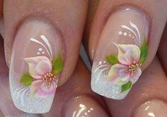 Wedding Nails, Bridal Nail Art Ideas - Bridal Nail Designs For Your Wedding Day. Invite glances on your bridal nails done by wedding nail art designers. Nail Art Designs, Bridal Nails Designs, Bridal Nail Art, Nail Designs Pictures, Flower Nail Designs, Flower Nail Art, Fingernail Designs, Floral Designs, Wedding Day Nails