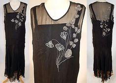 1920s-Vintage-Art-Deco-Black-Silk-Chiffon-Silver-Beaded-Flapper-Dress
