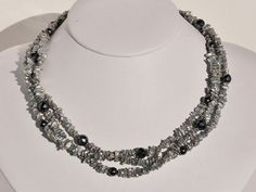 $149.99 Sterling Silver 3 str of Silver Grey Keshi by BlueBreezeJewelry, $149.99