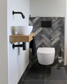 Toilet cabinet - Home or Pondo - Home DesignToilet cabinet toilet room. Solid oak, matt white and matt black combined. Luxury toilet designed by GJ Meijer. Black toilet by Duravit, tiles Small Downstairs Toilet, Small Toilet Room, Bad Inspiration, Bathroom Inspiration, Modern Bathroom, Small Bathroom, Outside Toilet, Luxury Toilet, Black Toilet