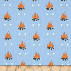 Take a Hike Campfires Blue from @fabricdotcom  Designed by Jack and LuLu for Dear Stella, this cotton print is perfect for quilting, apparel and home decor accents.  Colors include blue, orange, brown, cream and white.