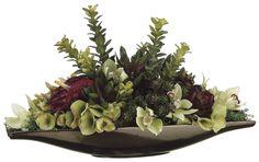 Anthurium, Hydrangea, And Jade Succulent Garden