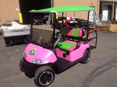 Custom Painted Golf Cart in Pink and Green~
