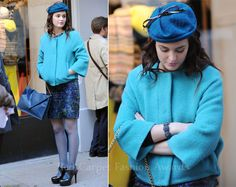 Leighton Meester wore a chic Diane von Furstenberg 'Milford' aqua jacket with cropped bell sleeves and slanted pockets with a navy floral dress, blue tights, Stuart Weitzman 'Time' lace-up black pumps and a navy envelope bag. A blue veiled hat with a black bow completed her look.    Only the hat and the jacket are working for me.