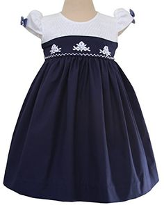 Elegant Lisa Hand Smocked Girls Christmas Dress in Navy White Silk Embroidery ** You can get additional details at the image link.