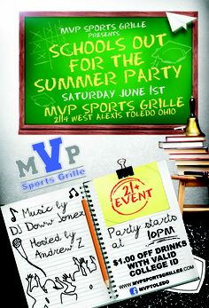 Flyer we designed for a local's bar college night, schools out for the summer.  http://www.nerdydesigns.com/