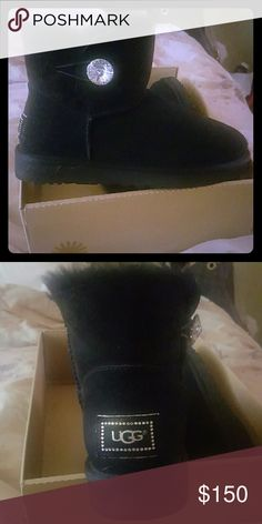 Uggs Size 10 Black Shearling Lined Uggs with Huge Rhinestone Crysat and rhinestone trimming on Ugg sign.  Comes with box. UGG Other