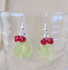 Green Leaf & Crystals Dangle Earrings by Pizzelwaddels on Etsy, $5.97