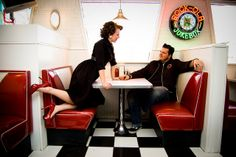Aimee and Jason Vintage Diner Engagement Session Nikki Loux Photography