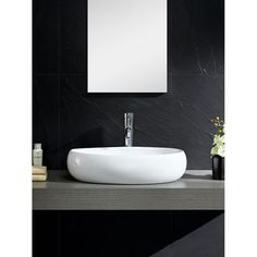 Somette Vitreous China Bulging Oval White Vessel Sink   Overstock Shopping    Great Deals on Somette Bathroom SinksEnjoy with Exclusive Bathroom Sink Cabinets  Black Modern Double  . Modern Double Bathroom Sink. Home Design Ideas