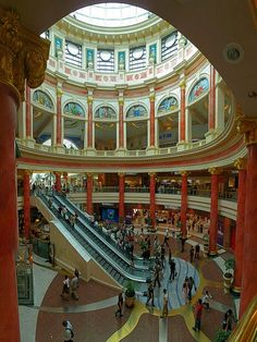 The Trafford Centre – Manchester, England My partner & I just loved the crazy.vulgar garish OTT design of this huge centre. Like another world inside. But not souless like other centres. We would wander around it and just take in the people & colours, the Manchester Hotels, Manchester England, Manchester City, Neon Licht, Life Hacks, Northern England, Der Bus, Salford, Shopping Malls