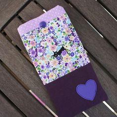 """Etui a lunettes en tissu japonais """"fleurs et chat noir"""" et coeur en simili cuir violet"""