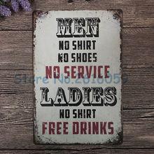 ''Drinks'' Vintage Carteles de chapa Decoración Para El Hogar Club Bar Cafetería Pintura Arte Decoración de La Pared Carteles de Chapa de 20*30 cm W-0713(China (Mainland))