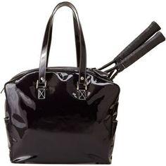 SlamGlam - Cortiglia Belvedere Navy Tennis Tote Bag.  Beautiful Italian made tennis toe bag in Patent Leather Navy!