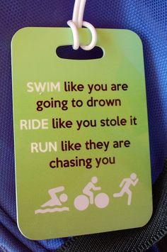 Triathlon Bag Tag Swim Bike Run by FlipTurnTags on Etsy, $5.95