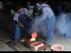Pouring Molten Brass: Backyard Molding and Foundry Work - YouTube