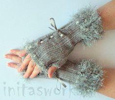 Guantes sin dedos guantes luz gris corsé brazo calentadores