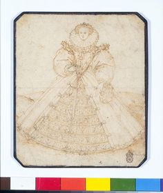 Elizabeth I by Hilliard is almost certainly one of the pattern drawings for her Great Seal in 1584. He completed several drawings and the Queen chose the final design. This was not the chosen version. Several factors show this is Elizabeth I and a design for her second Great Seal. Hilliard rarely produced pen drawings, which fits the story that the Queen insisted on seeing preliminary patterns on parchment. The costume, jewels and facial features correspond to other portraits of Elizabeth.