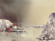 Anna Törnquist - Skärgårdsbo Watercolor Water, Watercolor Artists, Watercolor Landscape, Watercolour Art, Watercolor Ideas, Building Painting, Painting Snow, Fashion Painting, Less Is More