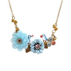 Couple of robins and flowers necklace, Les Nereides