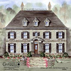 Garrell Associates IncCambridge Manor House Plan Front Elevation Williamsburg Style Plans French S
