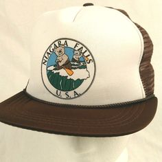 Niagara Falls USA Bear Barrel Oar Trucker Hat Baseball Cap Brown Mesh Snapback #Unbranded #TruckerHat