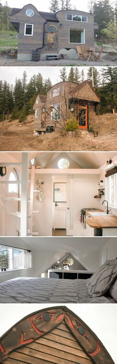 The 280-square-foot Esk'et Tiny House has a Shou Sugi Ban treated pine exterior with beautiful carvings and Aboriginal art.