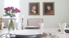 ANCESTRAL PORTRAITS--I've been seeing a new trend to hang ancestral portraits in homes.  My grandmothers' portraits are now hanging in the dining room of my 100 year old farmhouse.