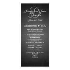 Chalkboard Monogram Wedding Menu Card