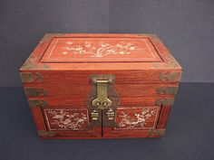 Large Chinese Asian Dovetailed Jewelry Box Mother of Pearl 3